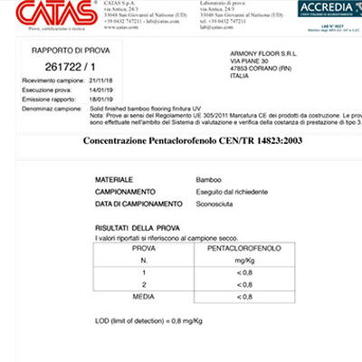 Parquet Bamboo Certificato Catas, Armony Floor
